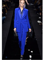 Royal Blue Business Pant Suits for Women Ladies Single Breasted Blazer with Pants Women's Work Pantsuit Custom Made