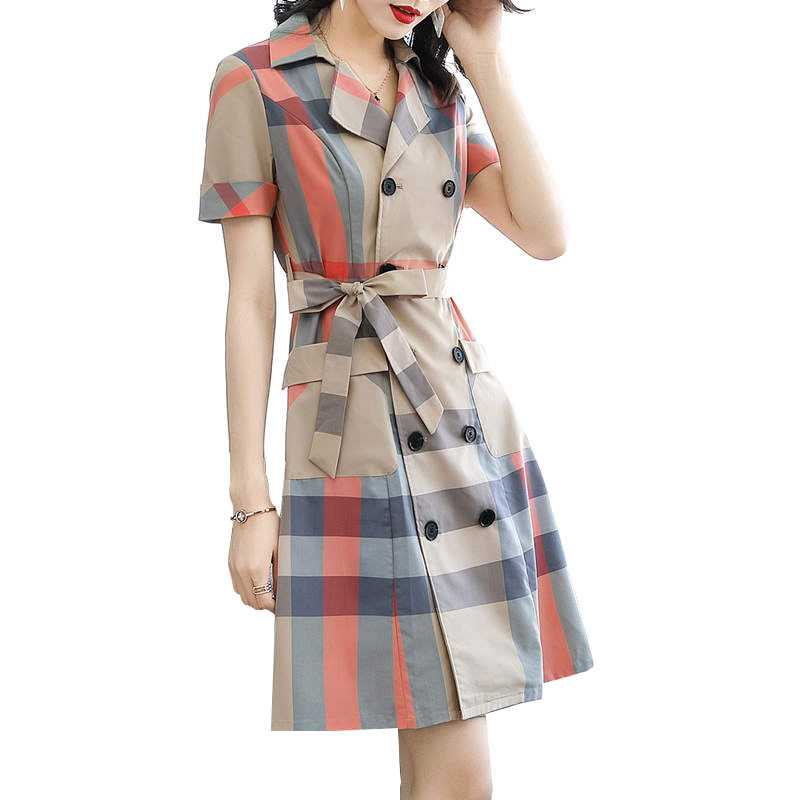 Plaid Vintage Office Dress Suit Collar belt Short Sleeve Elegant 2019 Summer New Women Ladies Dresses Plus Size Vestidos HJ297