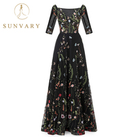 Sunvary Made To Order Vintage Flower Embroidery Dresses Tulle See Through Red Carpet Dresses Pleated Long