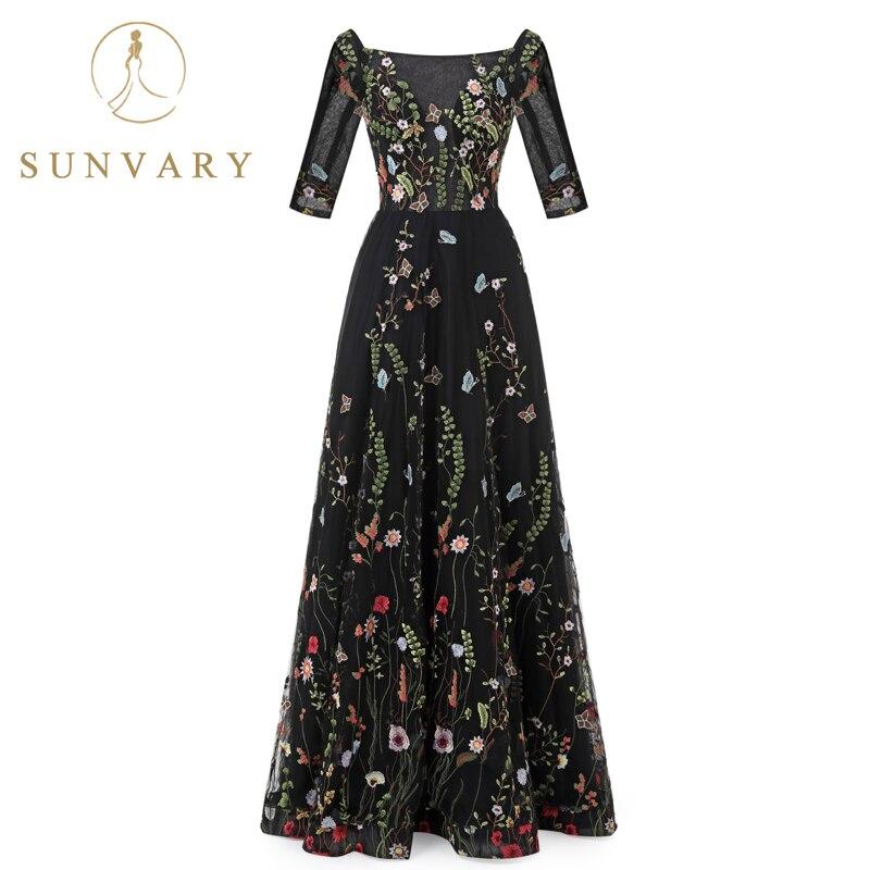Sunvary Aangepaste Vintage Flower Embroidery Nieuwe avondjurken Tulle - Jurken voor bijzondere gelegenheden - Foto 2