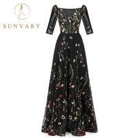 Sunvary hecho vintage flor Bordado Vestidos tulle ver a través de rojo Alfombras Vestidos plisado largo Celebrity Vestidos