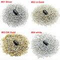 [Menor] Nail art Rhinestones cristalinos 2 MM Ronda 1000 unids/pack color Oro para el arte del clavo 3d arcos