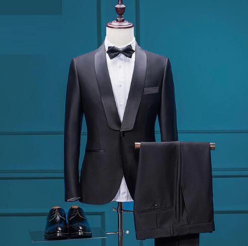 NEW Mens Jacket+Pants Set Custom Made Tuxedo Dress Suits Black Slim ...