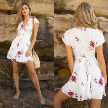 Las mujeres de verano de manga corta, Mini vestido Casual fiesta noche cuello en V de alta cintura Chiffon Mini vestidos de playa breezy vestido