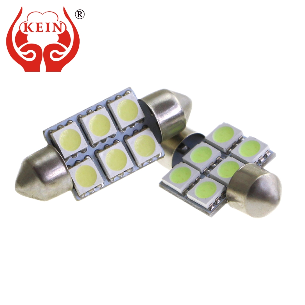 KEIN 10pcs 31 36 39 41 Mm Festoon Led C5W C10W Led Car Light SV8.5 6smd 5050 Interior Dome Auto Signal Lamp White/Crystal Blue