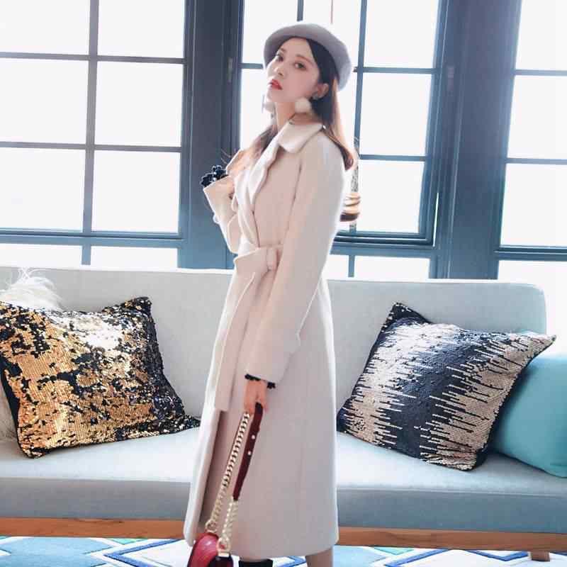 Куртка женская длинная секция 2019 новые осенние и зимние модели студенческая мода шерстяное пальто зима