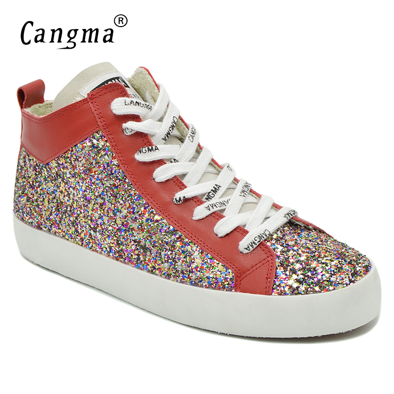 CANGMA Famous Stylish Woman s Sequined Multi-Colored Shoes Mid Brand Sneakers  Women Glitter Footwear Female Lace Up Casual Shoes c38e19fcd5ab