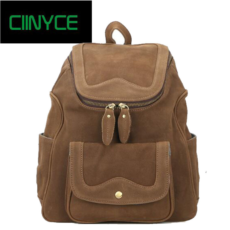 2018 Brand Designer Original Womens Vintage Cow Leather Real Nature Cowhide Skin Laptop School Backpacks Travel Bags