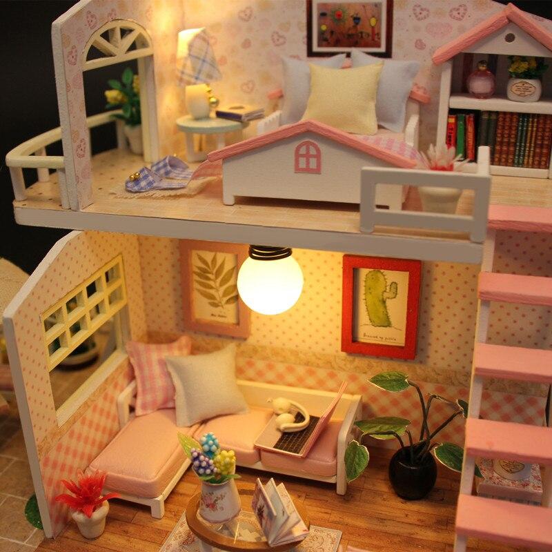 Hoomeda nueva llegada miniatura casa de muñecas de madera con - Muñecas y accesorios - foto 5