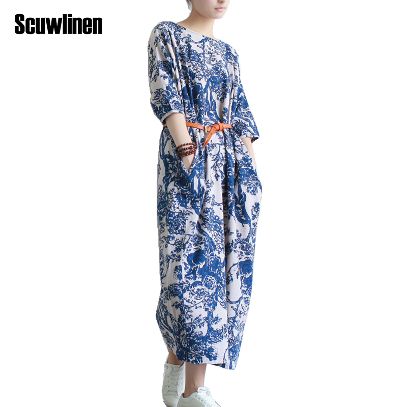 SCUWLINEN Vestidos 2019 Women Summer Dress Plus Size Loose Casual Vintage Print Half-sleeve Long Party Floral Linen Dress S04