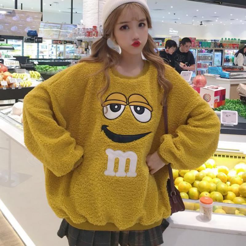 Fall Winter Woman Yellow Long Sleeve M Letter Smile Print Harajuku Loose Hoodies Women Fleece Pullover Female Sweatshirt