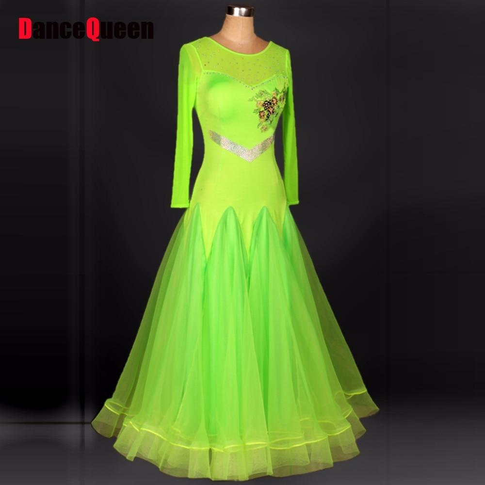 Women Ballroom Dance Competition Dresses Green Lady Jazz/Tango/Waltz Dance Dress Vestidos De Festas Stage Costumes For Singers