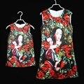 Европейский Amercian семья посмотрите Пресвятой Девы Марии черная роза тонкий Рукавов юбка женщины девушки сарафан мама и дочь платья