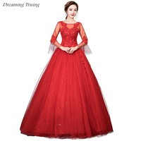 Cheap Long Flare Sleeve Ball Gown Wedding Dresses Appliques Lace Up See Through Neck Gothic Bridal Dress Vestidos De Novia