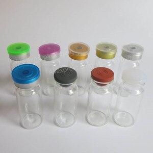Image 3 - 500 × 10ミリリットルクリアアンバー注入ガラスバイアルとプラスチックアルミCap1/3オンス透明ガラスボトル10ccガラス容器