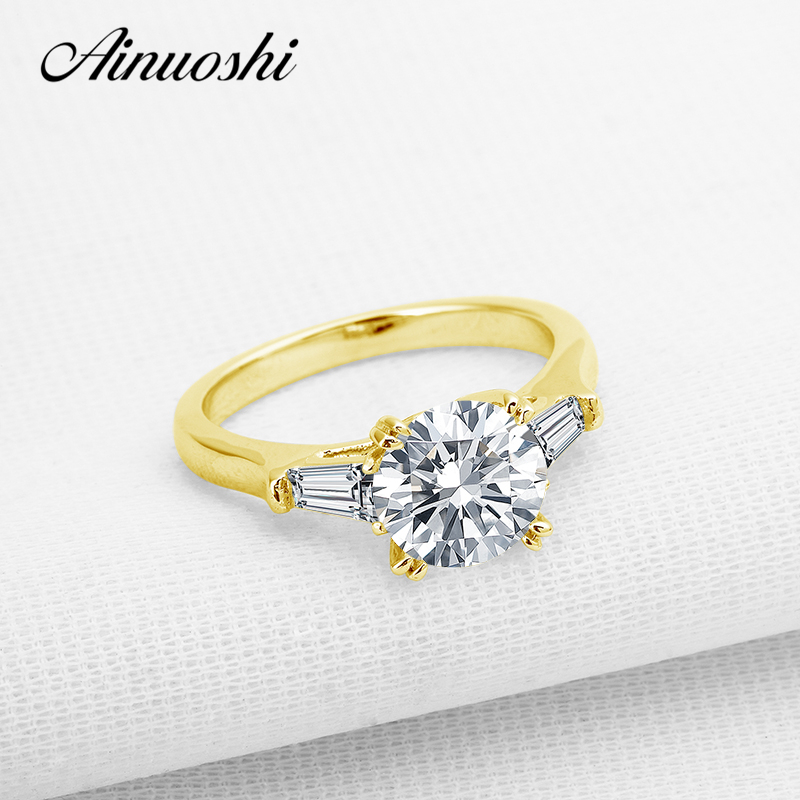 AINUOSHI 10K Yellow Gold Wedding Ring 2 ct Fancy 3 Stone Women Engagement Simulated Diamond Jewelry Brilliant Party Bridal Rings