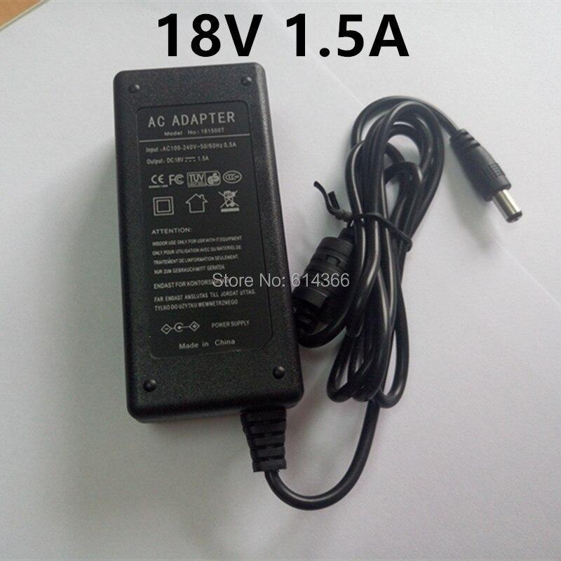 1 pcs 18 v 1.5A AC 100 v-240 v Adaptador Conversor DC 18 v 1.5A 1500mA fonte de Alimentação AU EUA REINO UNIDO UE Plug 5.5mm x 2.1mm
