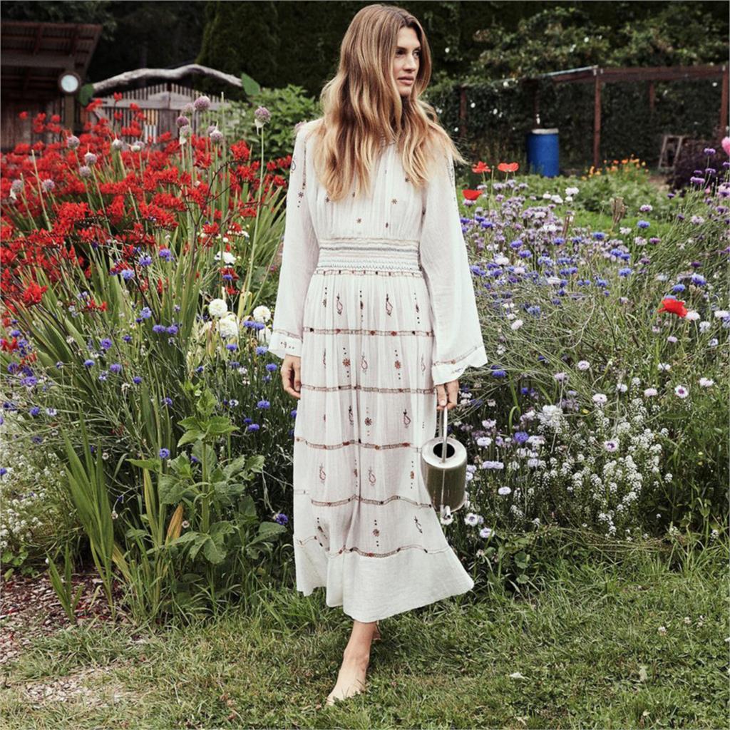 Boho Broderie Maxi Robe Femmes 2019 À Manches Longues O cou Chic Robe D'été Dames Élégant Bohème Plage Hippie Rétro Longue robe