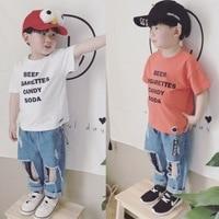 2017 Summer Fashion Boys T-shirts Short Sleeve Tee Tops Cotton Kids  White O-Neck Letter Kids Clothes T Shirt Boys Kids 3T-7T