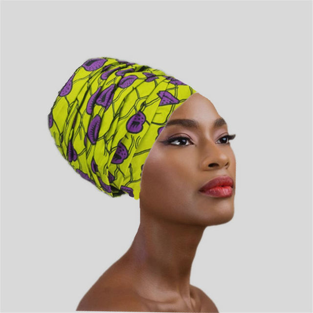 2018 latest design African print head wrap ankara wax fabric 100% cotton  scarf lemon green ec8c7c4a041