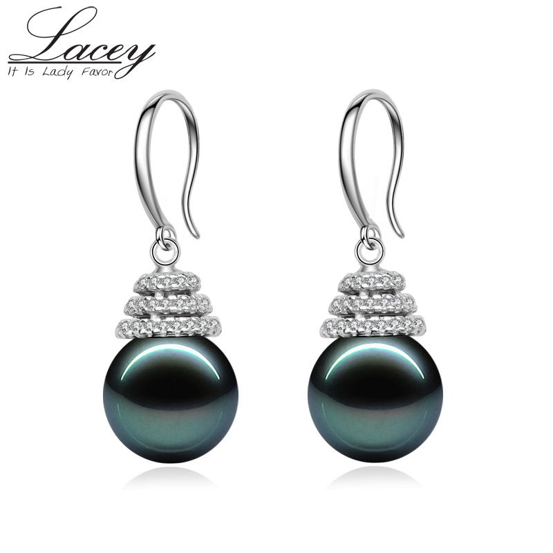 Real natural black pearl earrings Jewelry Tahitian pearl earrings 925 silver jewelry fashion pearl jewelry fine