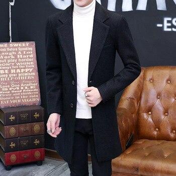 New winter men's wool coat in the long wool woolen coat jacket coat young men