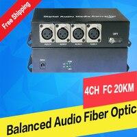 4 ch XLR de áudio Balanceadas para fibra óptica Transceptor de áudio equilibrada sobre fibra conversor de mídia de fibra de áudio Digital e Receptor