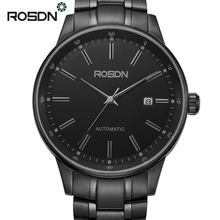ROSDN Sapphire Crystal Luxury Business Watches for Men Stainless Steel Self-wind Automatic Mechanical Watch Clock Hours relojes