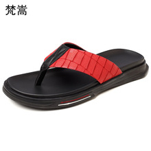 slippers mens Genuine leather trend outdoor non-slip casual beach shoes flip flops fender summer men genuine
