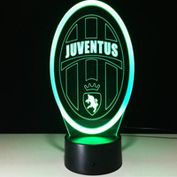 Innovative Football Club 3D LED Night Light For Italy Juventus Club Seven Colors Abajur Led Touch