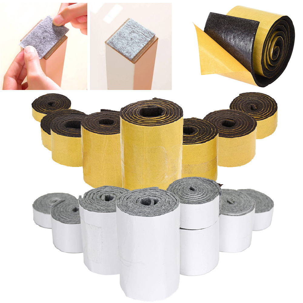 1 Roll Self-Adhesive Felt Furniture Pad Roll For Hard Surfaces Heavy Duty Felt Strip Mute Wear-resisting Protect The Floor Pads