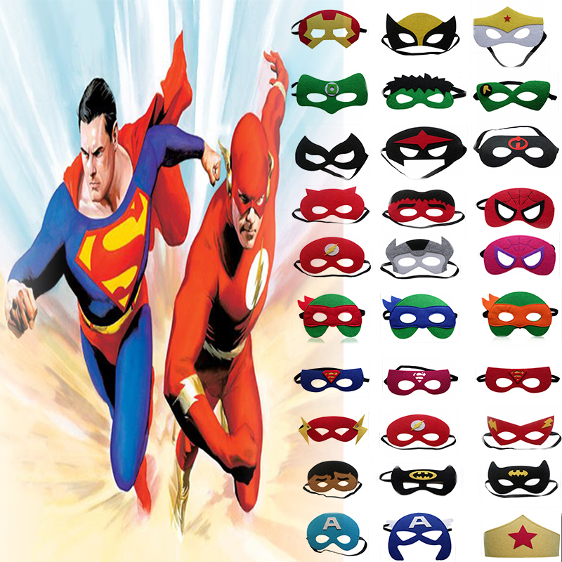 10PC Super Hero Cartoon Cosplay Masks Superman Batman Spiderman Halloween Christmas Party Kids Birthday Superhero Costume
