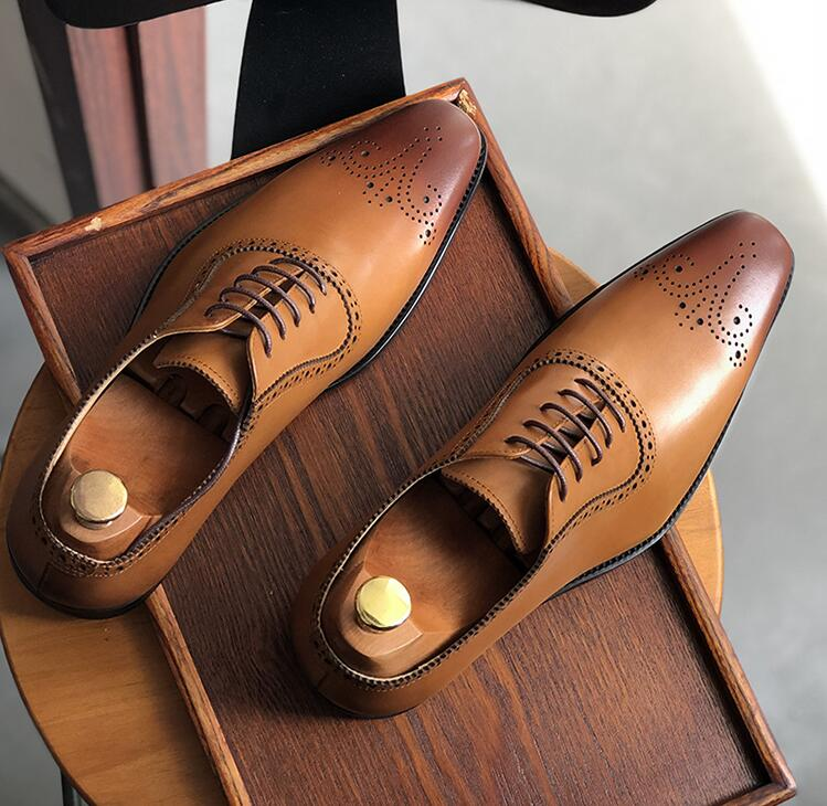 Handmade dress shoes men lace up genuine leather vintage italy carved brogue med heel 5cm smart casual shoes breathable brogue цена 2017