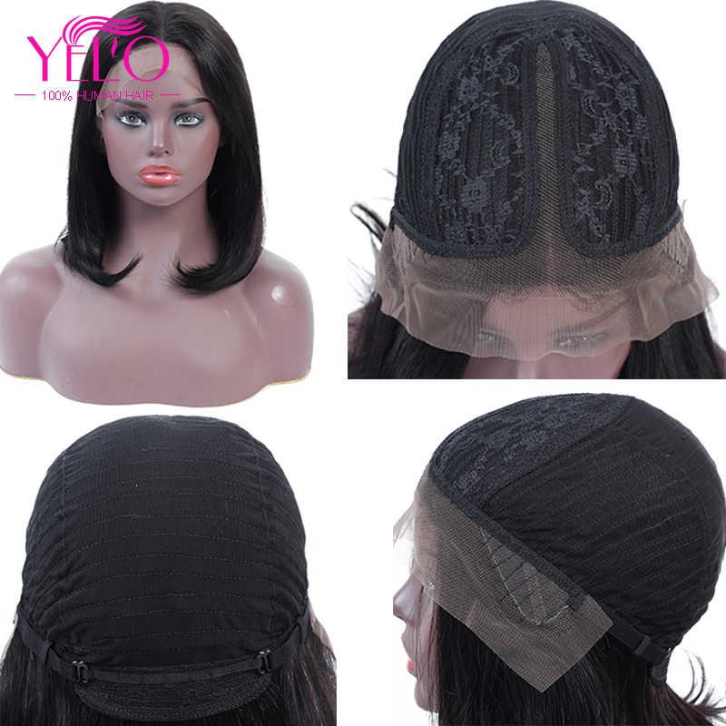 Короткий парик-Боб 8-14 дюймов бразильский прямые волосы Реми средняя часть кружева человеческие волосы YELO BOB парики Черный Леди Полный Толстый Dollface
