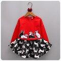 2016 de Corea Del Nuevo Patrón de 2 Unidades Para Niños Ropa de Otoño de La Muchacha Del Gatito Prendas de Vestir Sin Forro Chaqueta de Falda Falda de Medio cuerpo