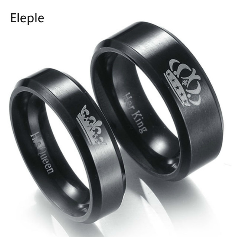 Eleple Titanium Stainless Steel Rings For Lovers Crown Pattern