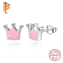 2017 Presents 925 Sterling Silver Pink Enamel Queen Crown Stud Earrings for Women Fashion Jewelry Valentine's Day Gift
