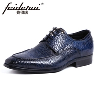 New Arrival Italian Men's Wedding Party Footwear Genuine Leather Vintage Pointed Toe Lace up Derby Man Formal Dress Shoes YMX425