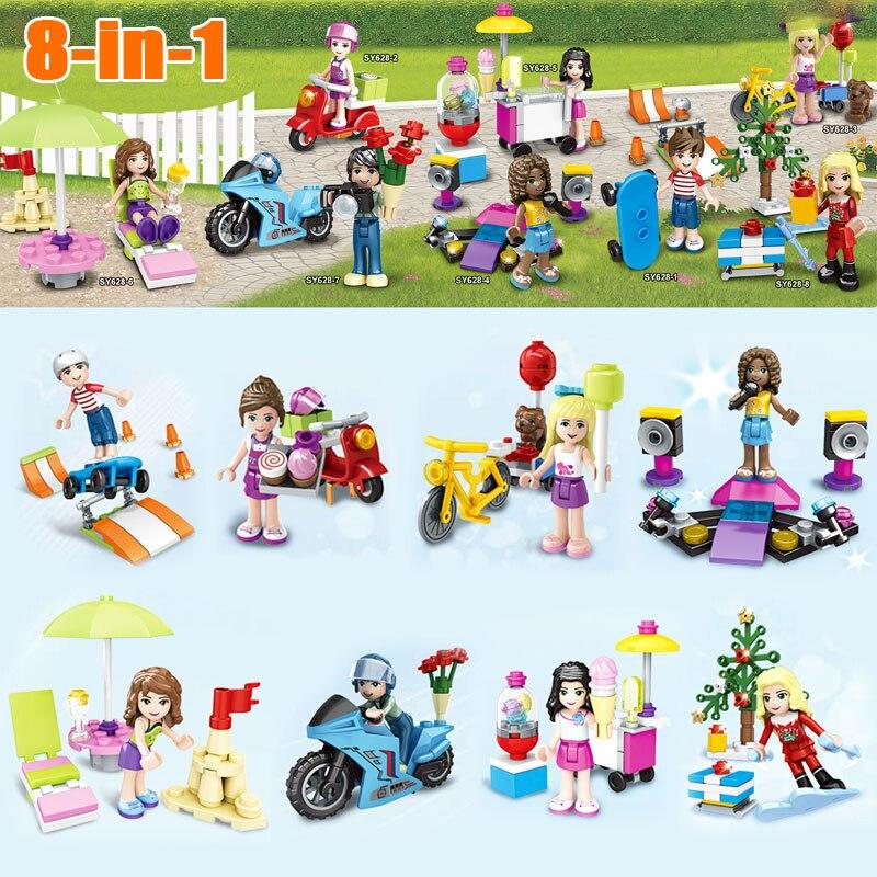 8 Teile/los SY628 Monster Schule Mädchen Freunde Mini puppen Baustein Ziegel Spielzeug Set Kompatibel Mit Legoed Freunde