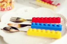 все цены на Building block tableware creative Brick Fork  Knife Fork Spoon  Chopstick Western Tableware 3 pieces set portable онлайн