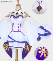 Re:Zero kara Hajimeru Isekai Seikatsu Emilia Cosplay Costume Fancy Dress+Elf Ear+Stockings+Headwear Halloween Costumes for Women