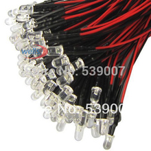 100x 3mm Prewired LED White Warm Red Blue Green Yellow UV Pink 20cm Cable 12V