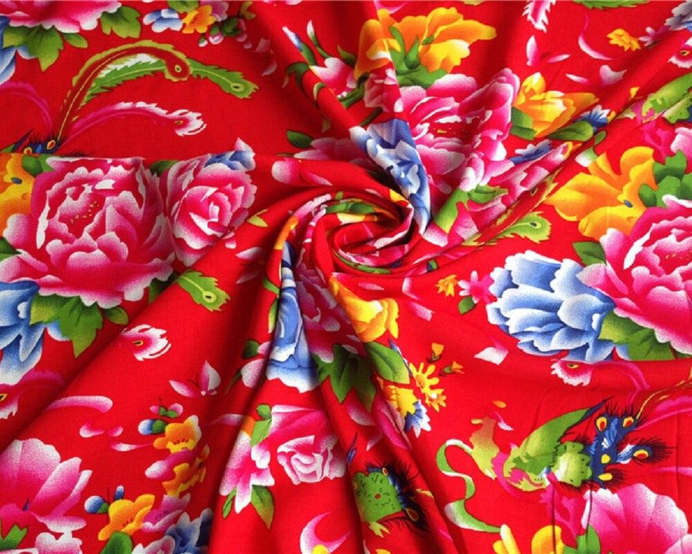 Chinese Jubilant Style Print Rayon Cotton Fabric Peony