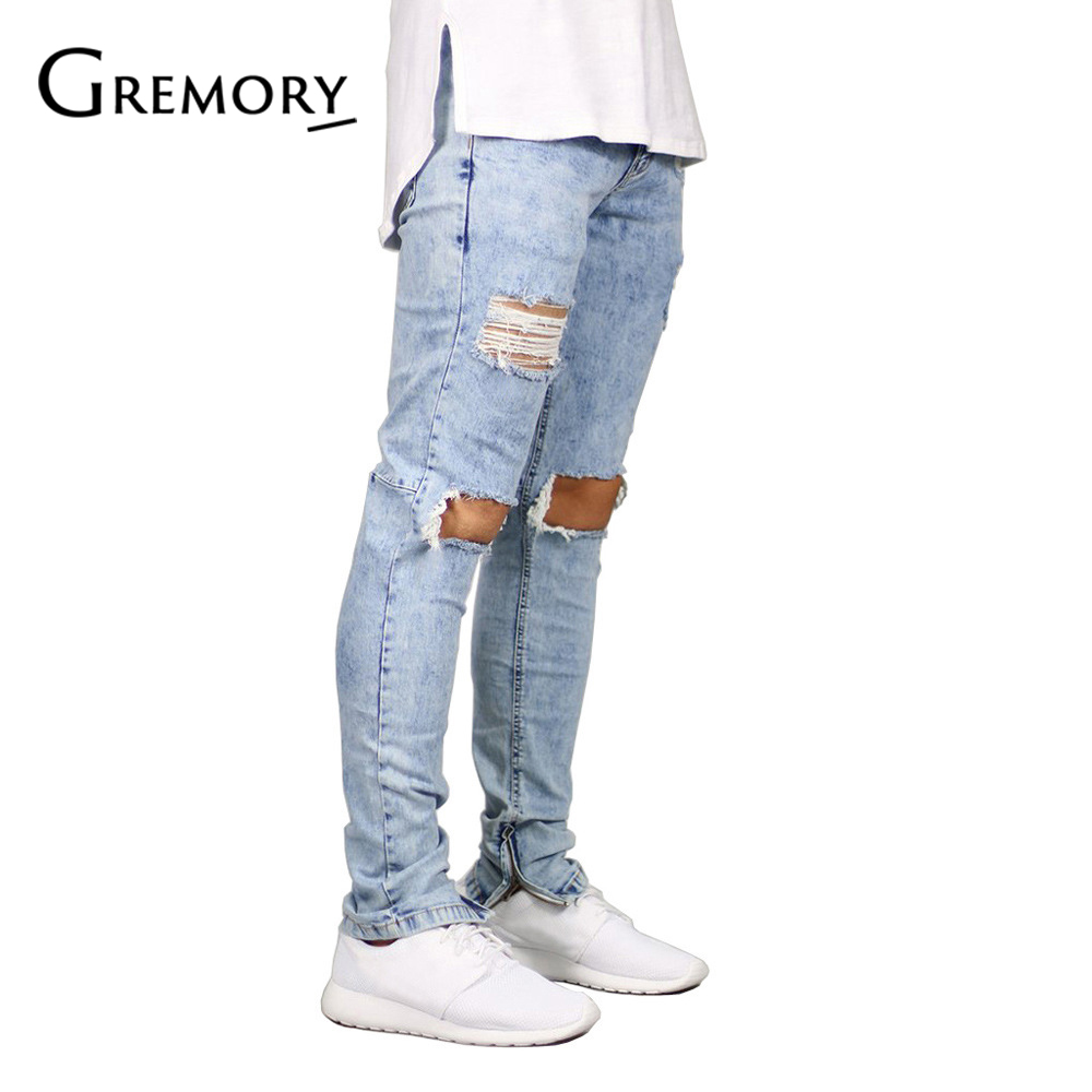 Brand 2018 Men Jeans Stretch Destroyed Ripped Design Fashion Ankle Zipper Skinny Jeans For Men Dropshipping SA-8