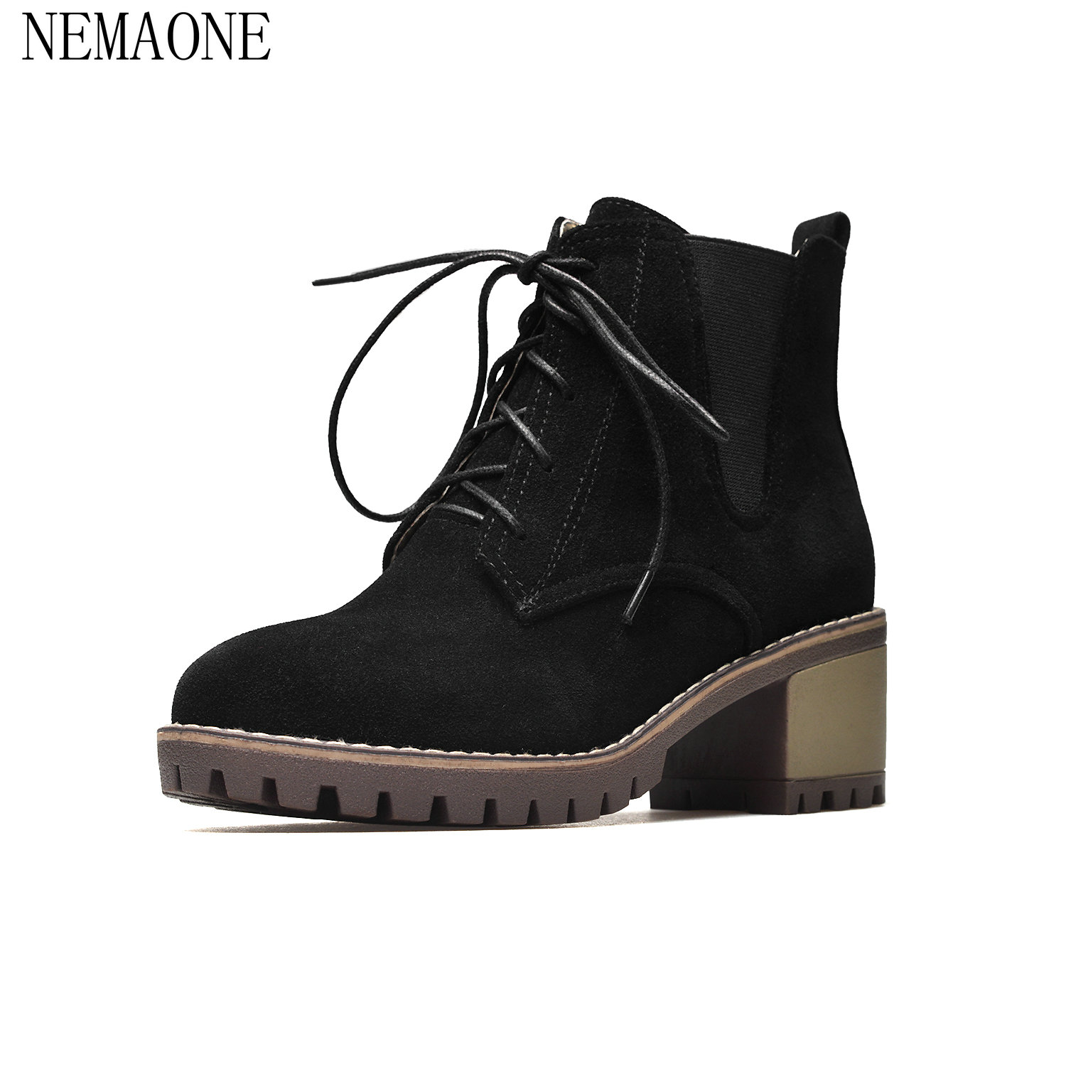 NEMAONE ankle boots concise round toe side keep warm well leisure modern campus fashion trend lace-up autumn women shoes front lace up casual ankle boots autumn vintage brown new booties flat genuine leather suede shoes round toe fall female fashion