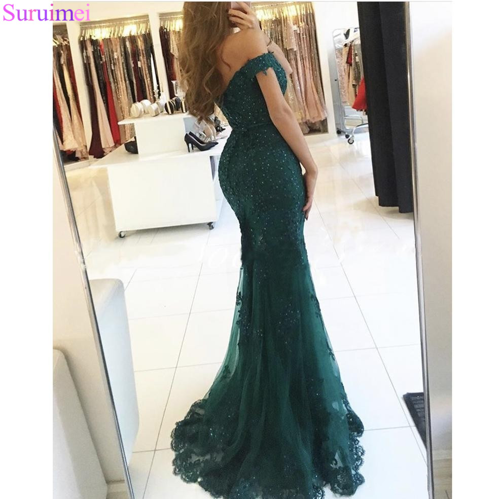 8718e739521 Off Shoulder Formal Prom Gowns 2018 Lace Appliques Beaded Mermaid Long  Emerald Green Prom Dress Tulle Robe De Soiree-in Prom Dresses from Weddings    Events ...