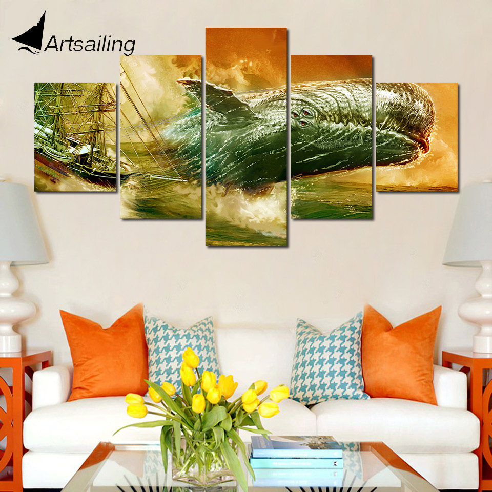 Modular Poster Hd Prints Home Decor 5 Pieces Dick Whale