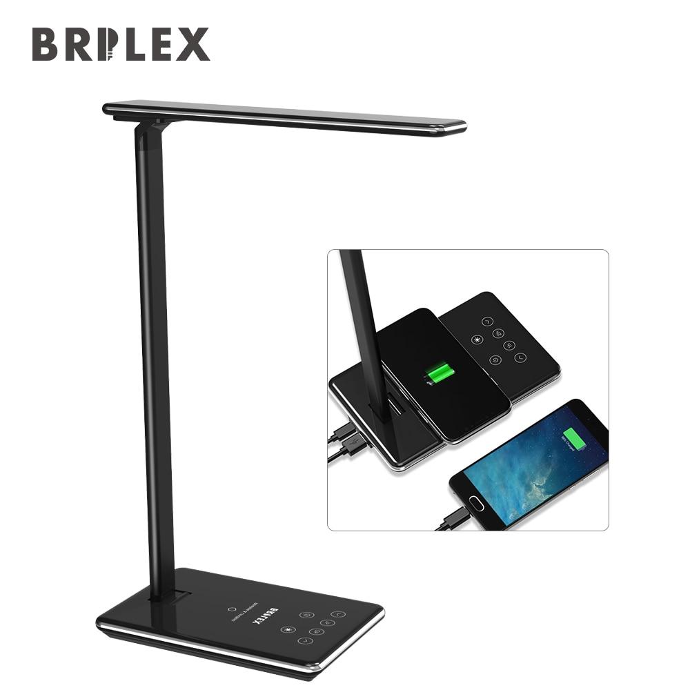 Brilex Desk Table Lamp Illumination Touching Adjustable Timing Wireless Charging Black Table Lamp Light.