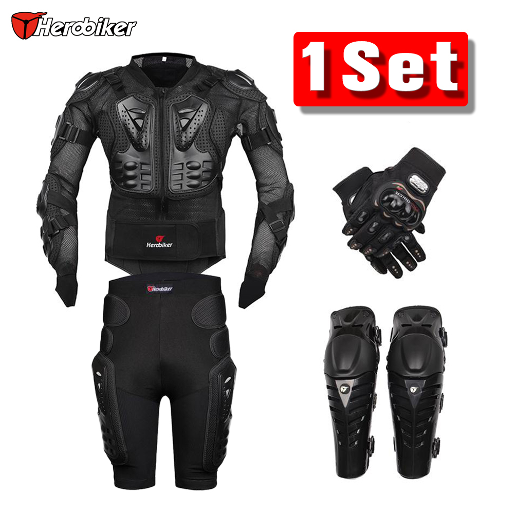 New Moto Motocross Racing Motorcycle Body Armor Protective Jacket+Gears Shorts Pants+Protection Motorcycle Knee Pad+Gloves Guard herobiker motorcycle body protection motocross racing full body armor gears short pants motocycle knee pad motorcycle armor