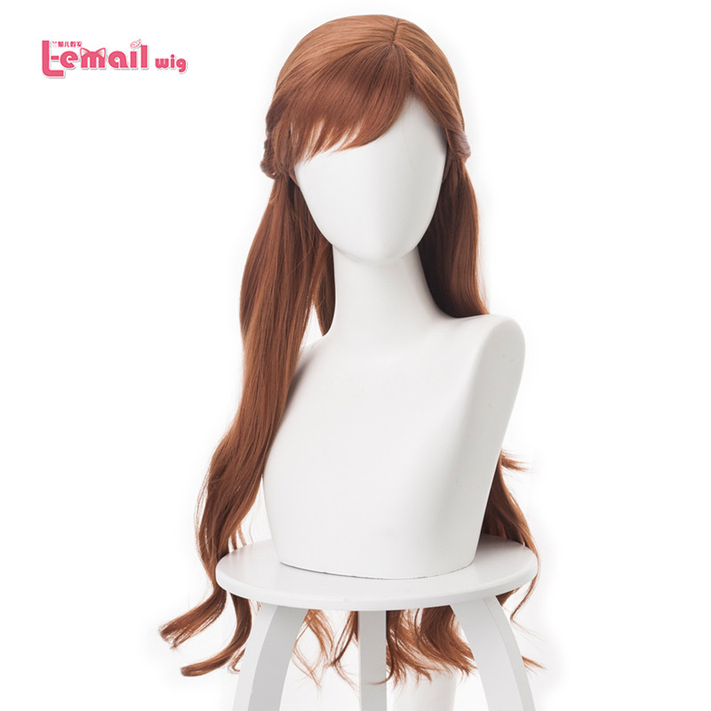 L-email Wig Anna Cosplay Wig Braid Wigs Hair Long Brown Wave Cosplay Wigs Heat Resistant Synthetic Wig Perucas